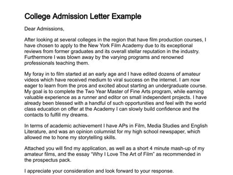 College Letter Exles Letter Of Admission