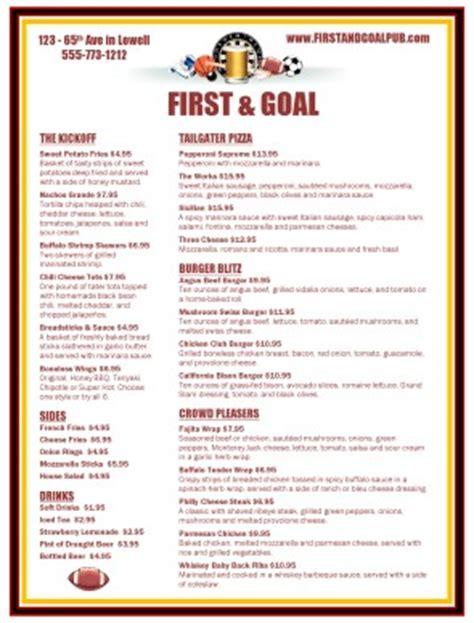 sports bar football menu sports bar menus