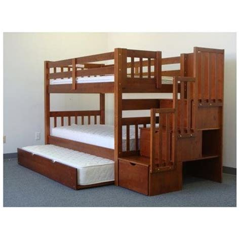 Bunk Bed With Built In Stairs Stairway Bunk Bed In Expresso With 3 Drawers Built In To The Steps And A
