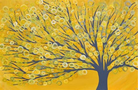yellow grey yellow grey abstract tree painting by louise mead from