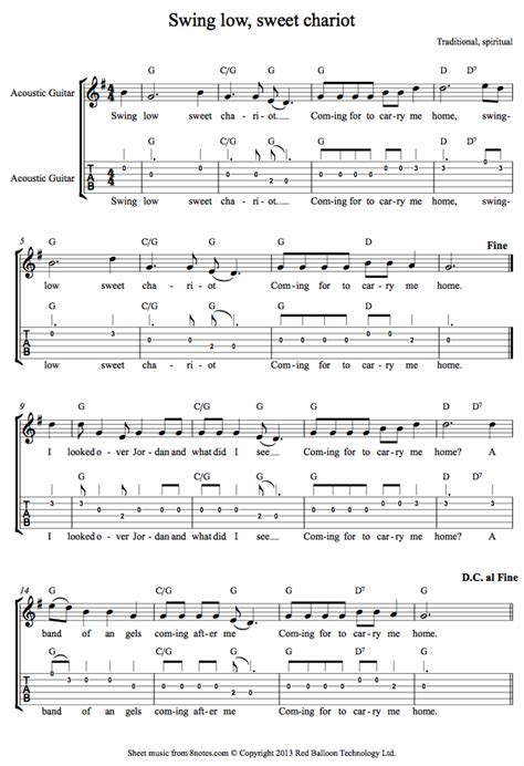 swing low sweet chariot song swing low sweet chariot sheet music for guitar 8notes com