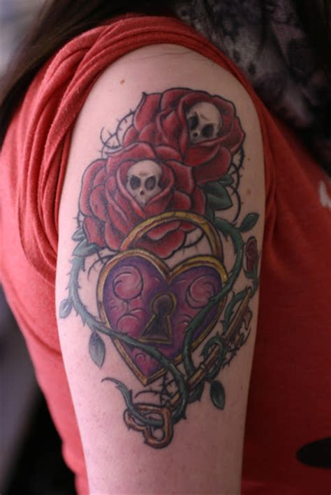 skull and rose shoulder tattoo fashioning and style skull for