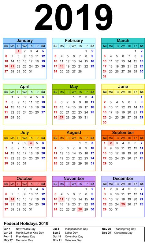 yearly month calendar page template printable
