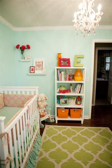 turquoise pink orange green nursery project nursery