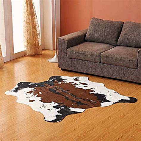 brown and white cow print rug brown cow print rug 55 1 quot wx62 9 quot l faux cowhide rugs animal printed carpet ebay