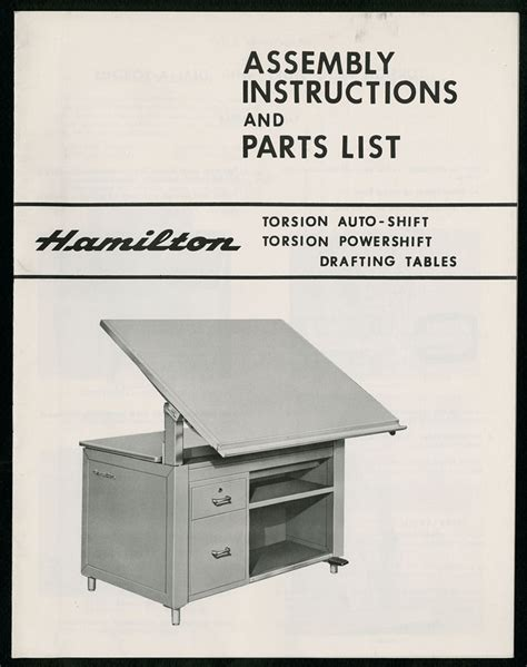 Drafting Table Parts The State Assembly Instructions And Parts List Hamilton