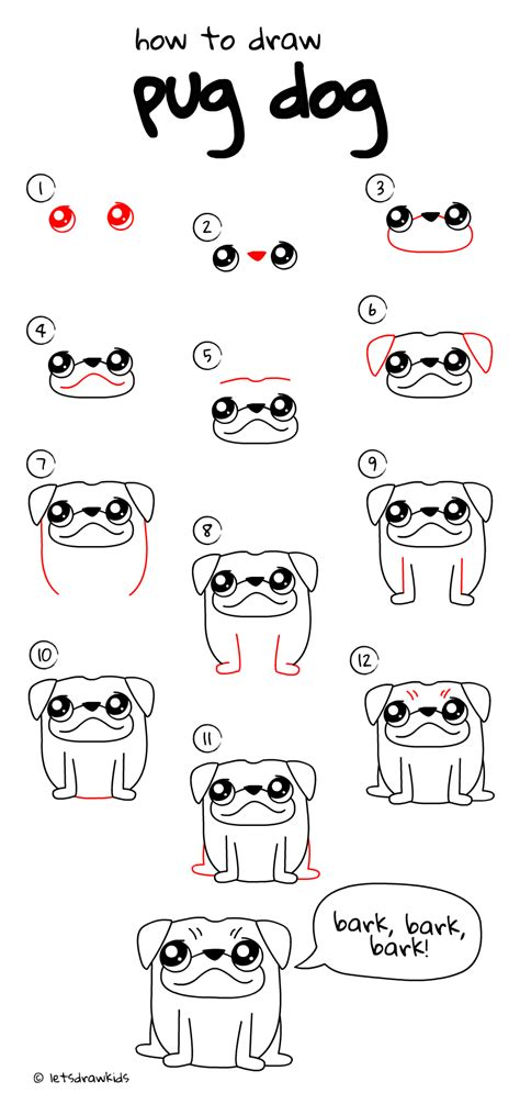 step by step how to draw a pug how to draw pug easy drawing step by step for let s draw