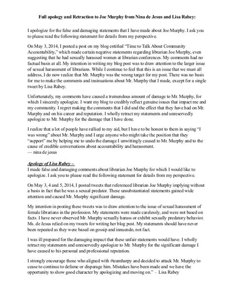 Apology Letter Defamation apology and retraction to joe murphy librarian from