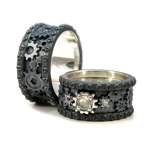 his and hers black silver gear rings by swankmetalsmithing