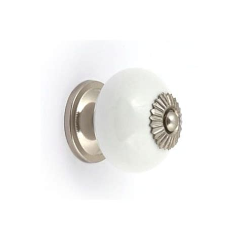 Homebase Door Knobs by White Ceramic And Silver Effect Cabinet Door Knob At