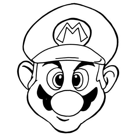 mario head coloring page mario line drawing clipart best