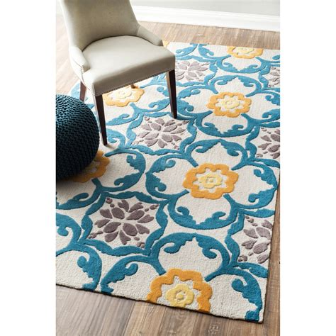Teal And Yellow Area Rug Quality Meets Value In This Beautiful Modern Area Rug Handmade With Polyester To Prevent
