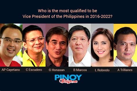 list of candidates for philippine 2016 election pinoythaiyo vice presidential mockup online voting pinoy