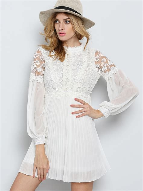 White Lace Sleeved Dress white sleeve embroidered bead lace dress shein sheinside