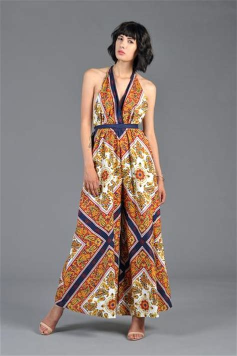 Jumpsuit Ethnic 1960s backless ethnic palazzo jumpsuit bustown modern