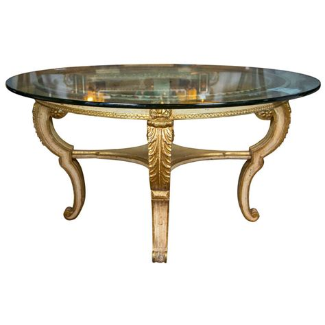 glass center table glass top giltwood base center table at 1stdibs