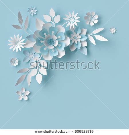 3d flower card template 3 d render abstract white paper flowers stock illustration