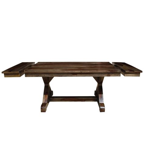 Solid Wood Farmhouse Dining Table Antwerp X Base Solid Wood Rustic Extension Farmhouse Dining Table