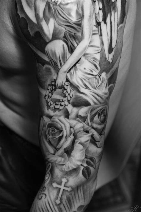 rose and angel tattoos sleeve by noah up