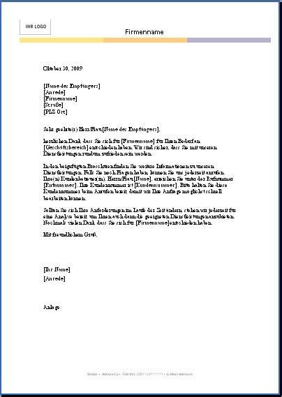 Briefvorlage Angebot word briefvorlagen zum herunterladen