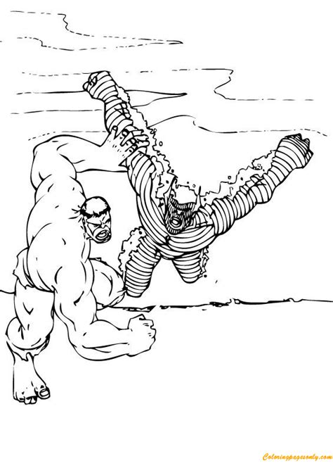 The Hulk vs Abomination Coloring Page - Free Coloring