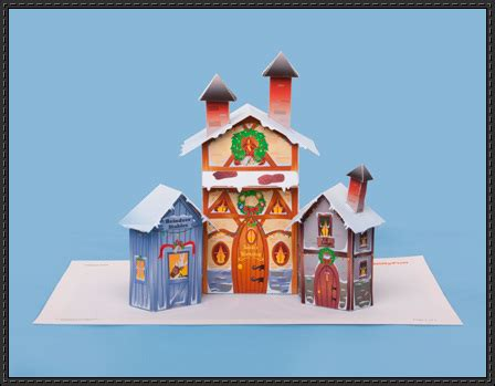 printable paper village christmas papercraft christmas village free template