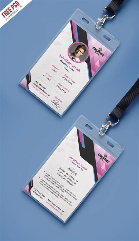 id card design professional company photo identity card psd template psdfreebies com