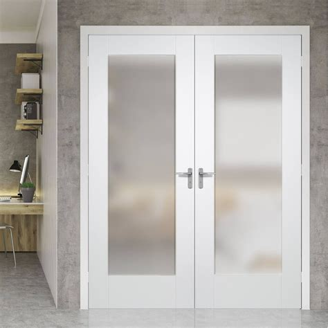 white with glass doors pattern 10 full pane white primed door pair with obscure