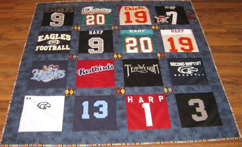 Quilts Made From Sports Jerseys by Pin By Shelly Blassingame On Arts And Crafts