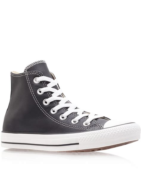 Converse High Klasik Black lyst converse black chuck leather hi top trainers in black