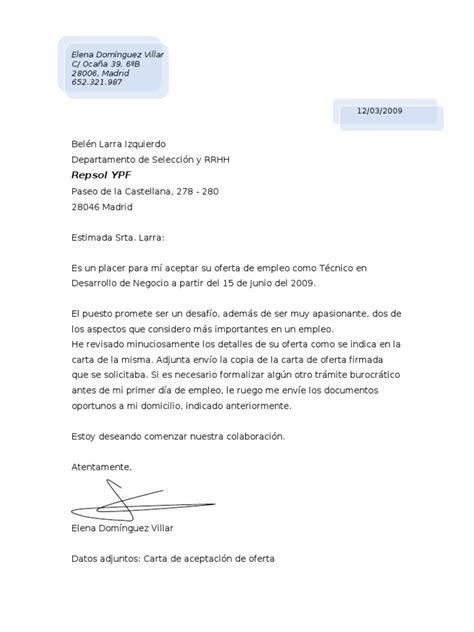 carta propuesta de seguros ejemplo de carta de aceptacion oferta