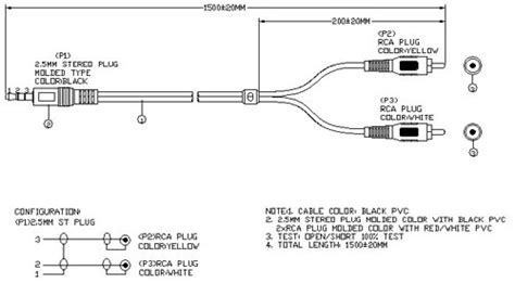 2 5 Mm Stereo Plug To Dual Rca With Special Pinout 5