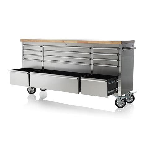work bench tool box 72 quot stainless steel 15 drawer work bench tool box chest cabinet ebay