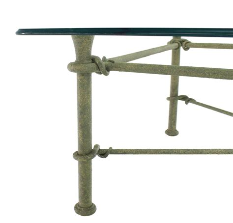 Wrought Iron Coffee Table With Glass Top Rectangle Wrought Iron Base Glass Top Coffee Table For Sale At 1stdibs