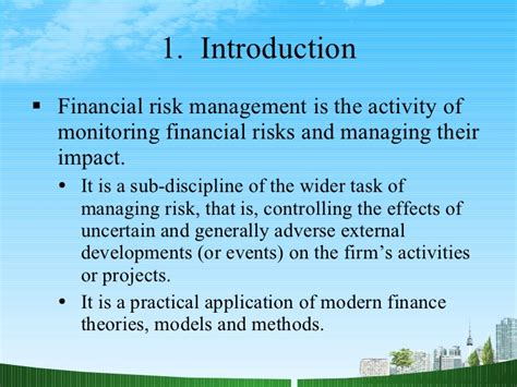 Project Management Ppt For Mba by Financial Risk Management Ppt Mba Finance