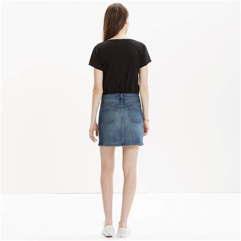 Button Side Asymmetrical Skirt madewell denim side button mini skirt in blue lyst