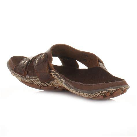 mens cushe manuka slide brown slip on leather mule sandals