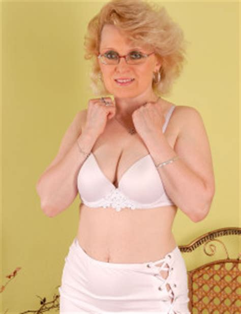 60 year old cougar 43 year old mom margeaux in white lace plays with her