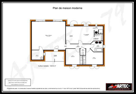 Plan Pavillon 100m2 by Maison Plain Pied Moderne 100m2 Immobilier Pour Tous