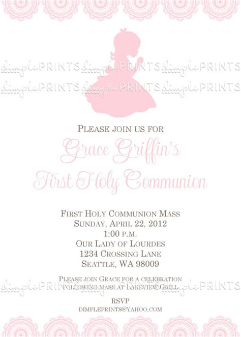 first holy communion invitation first communion invitation first holy communion invitation digital printable dimple