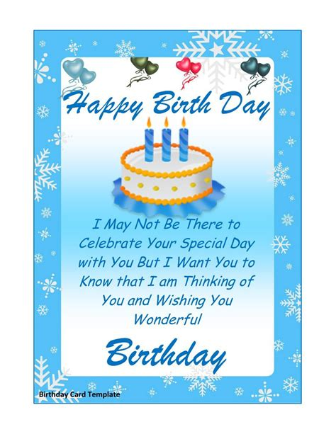 Birthday Greeting Card Template by 40 Free Birthday Card Templates Template Lab