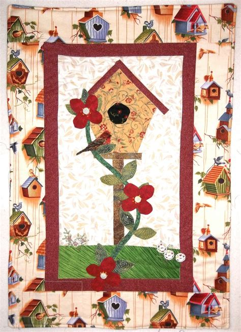 Patchwork Applique - patchwork and applique quilt birdhouse