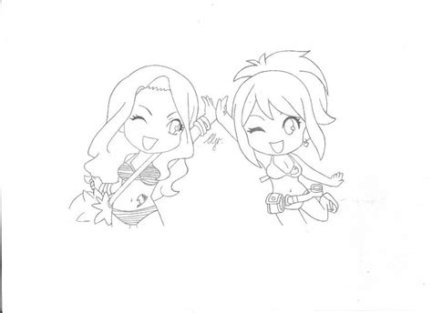 fairy tail coloring pages chibi fairy tail lucy and cana chibi by roseofcherry on deviantart