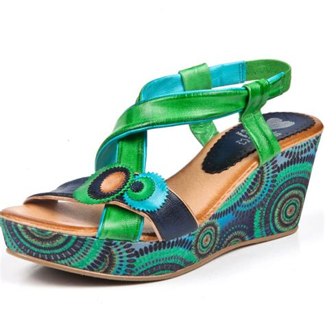 green sandals marila blue and green leather wedge sandal