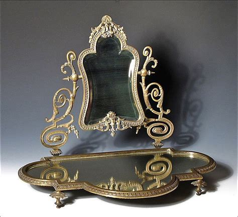 Antique Vanity With Mirror by Antique Vanity Mirror Beveled W Platform And Ornate Cast Bronze From Oh On Ruby