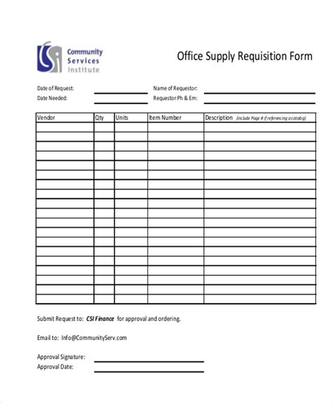 Sle Requisition Form 11 Free Documents In Doc Pdf Excel Office Supply Form Template