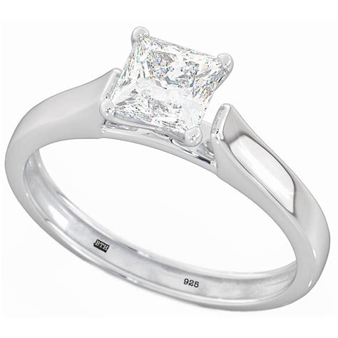 925 sterling silver princess cut solitaire wedding