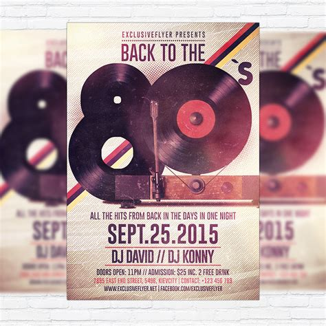 Retro 80 S Card Templates by Retro Premium Flyer Template Cover