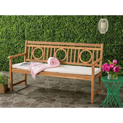 3 seat bench cushions outdoor safavieh montclair outdoor 3 seat acacia patio bench with