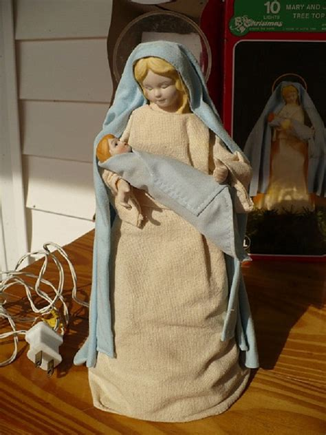 vintage 10 light mary and baby jesus tree topper christmas